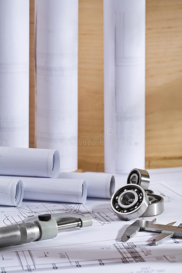 Drawings And Precision Tolls Stock Photo