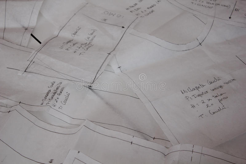 Drawings of sewing patterns stock photo