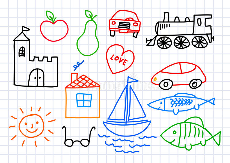 Drawings on squared paper royalty free illustration