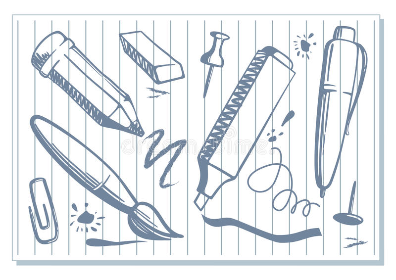 Notebook And Pen Sketch Stock Vector Art More Images Of: Drawings Of Stationery Royalty Free Stock Images