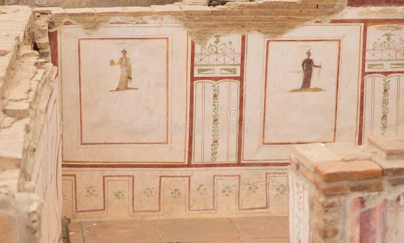 Drawings in Terrace Houses, Ephesus Ancient City. In Izmir, Turkey stock image