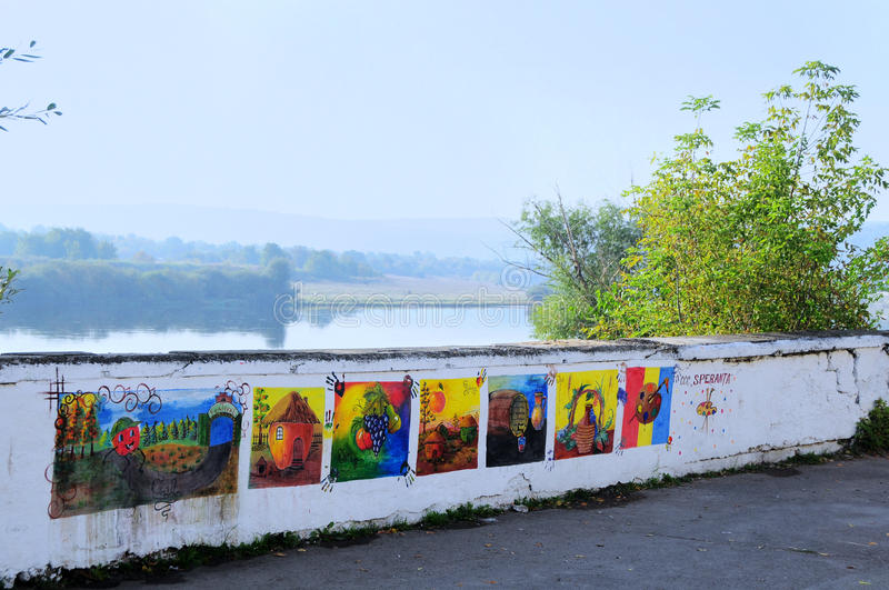 Drawings on the wall next to the fortress in Soroca, Moldova royalty free stock photo