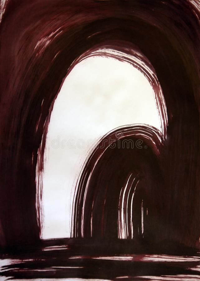Drawn abstract arch in the arch, the harmonious beauty of perspectives,. Useful abstract graphics for brain health, motivation, inspiration, promotion and stock photos