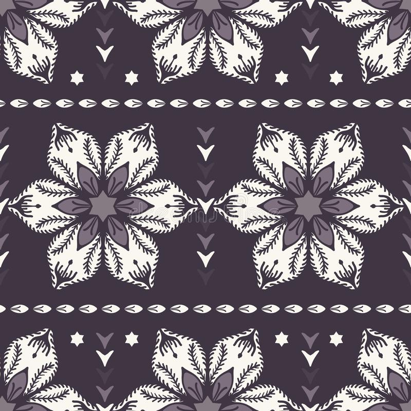 Drawn abstract Christmas flower pattern. Stylized poinsettia floral. Black White background. Winter holiday all over print. royalty free illustration