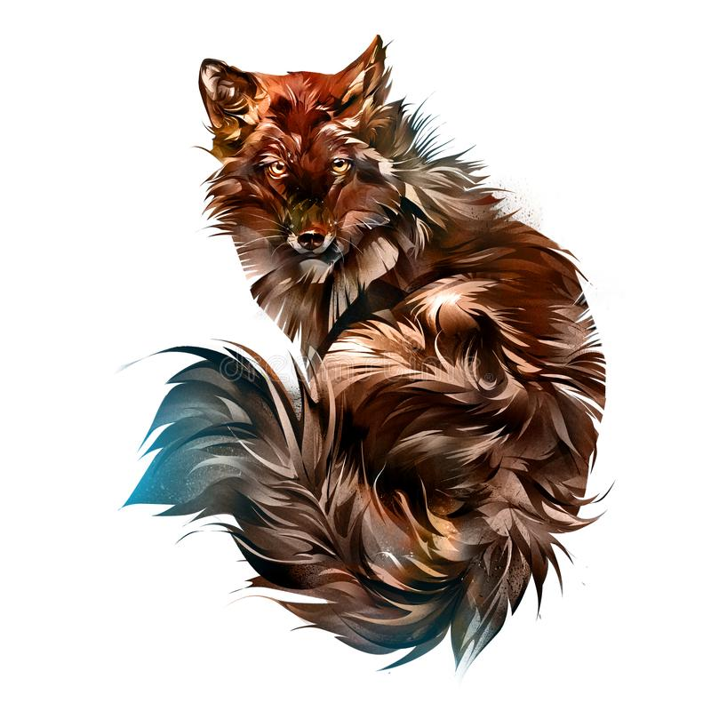 Drawn animal red fox on a white background stock images