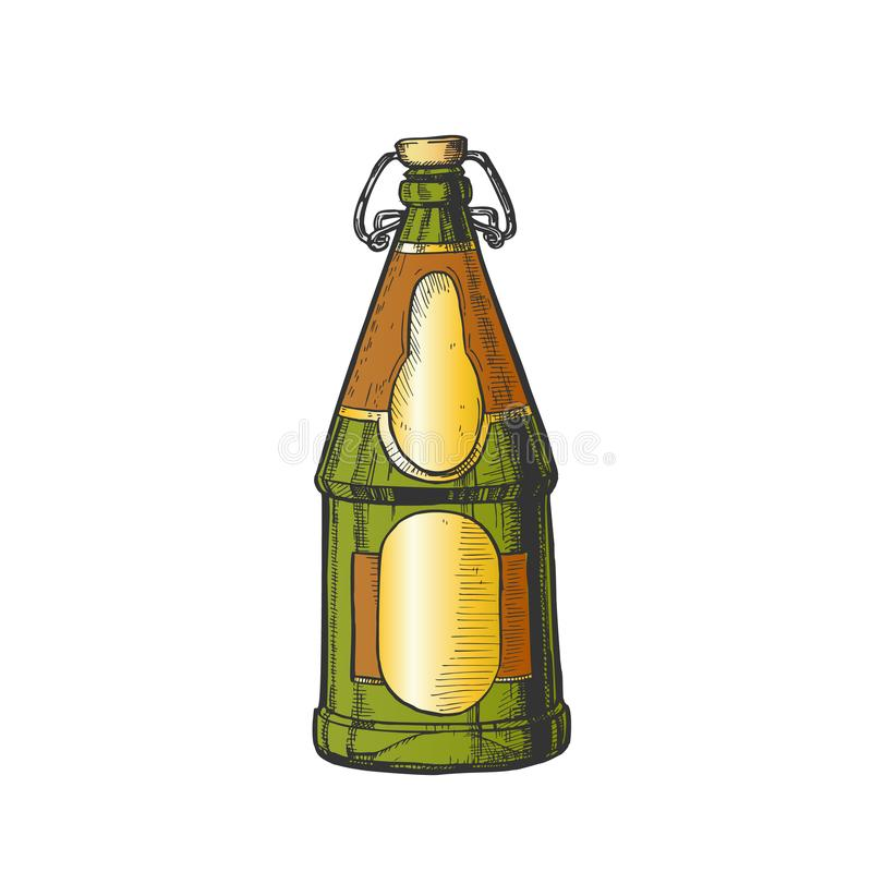 Drawn Blank Beer Bottle With Bar Stopper Color Vector royalty free illustration