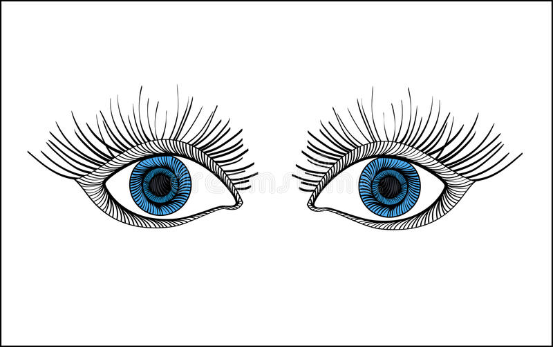 Drawn blue eyes. Scared expressive look. Graphic style. Vector stock illustration