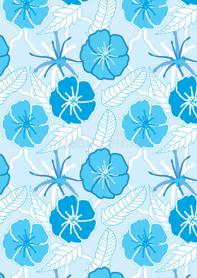 Download Drawn Blue Flowers Seamless Pattern_eps Royalty Free Stock Photography - Image: 19896567