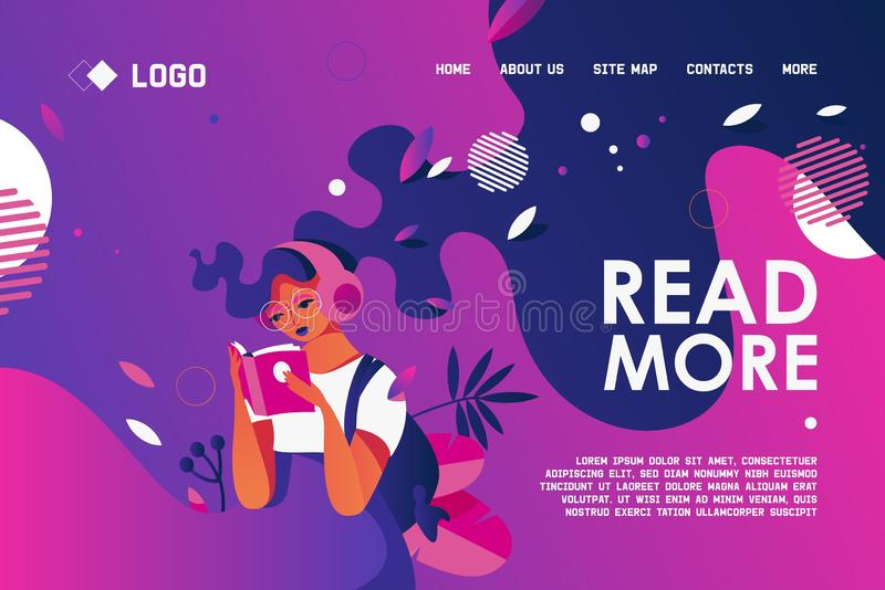 Drawn with bold purple and blue gradients young woman character holding paper book. Concept banner for landing page for love to royalty free illustration