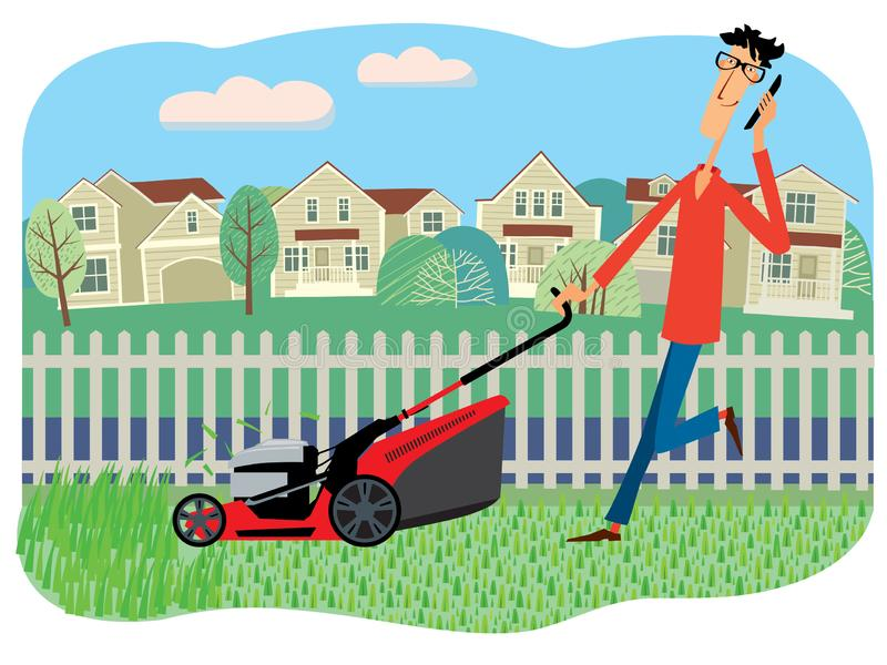 Drawn cheerful character mows grass with a lawn mower on the background of houses. Drawn cheerful character mows grass with a lawn mower and talks on the phone royalty free illustration
