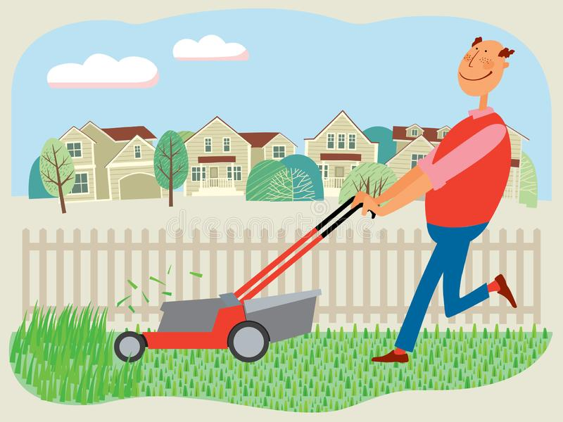 Drawn cheerful man mows grass with a lawn mower on the background of houses. Vector full color graphics royalty free illustration