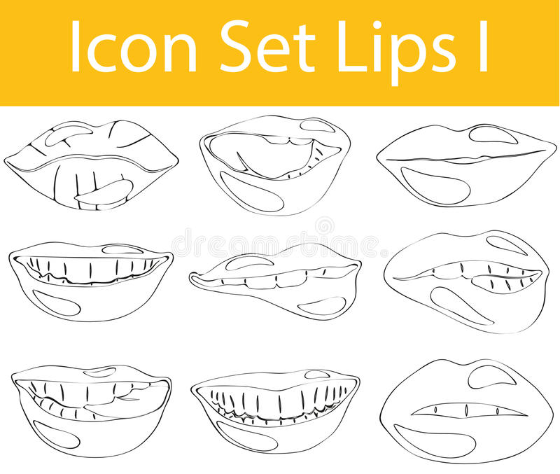 Drawn Doodle Lined Icon Set Lips I. With 9 icons for the creative use in graphic design vector illustration