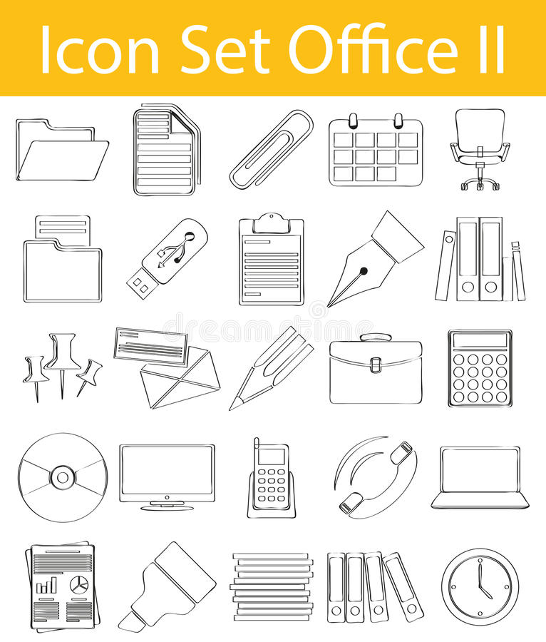 Free Drawn Doodle Lined Icon Set Office II Stock Photos - 72679923