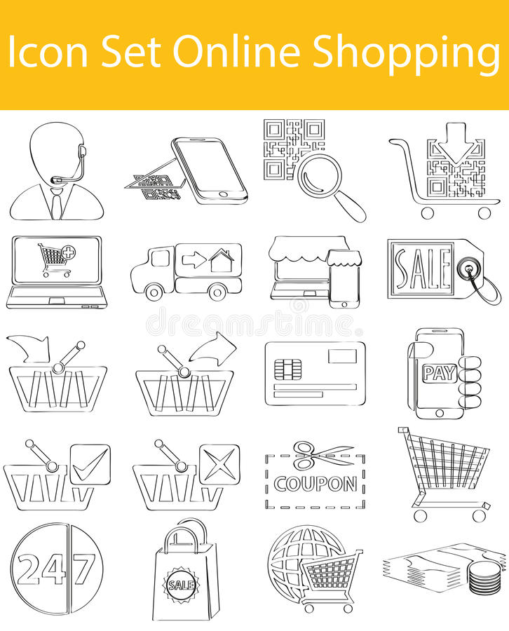 Drawn Doodle Lined Icon Set Online Shopping. With 20 icons for the creative use in graphic design stock illustration