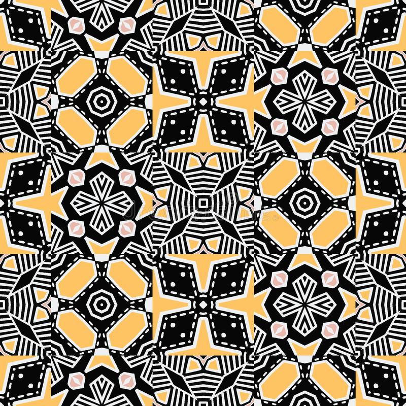 Bold hand drawn floral quilt. Vector pattern seamless background. Symmetry geometric abstract illustration. Trendy retro quilted vector illustration
