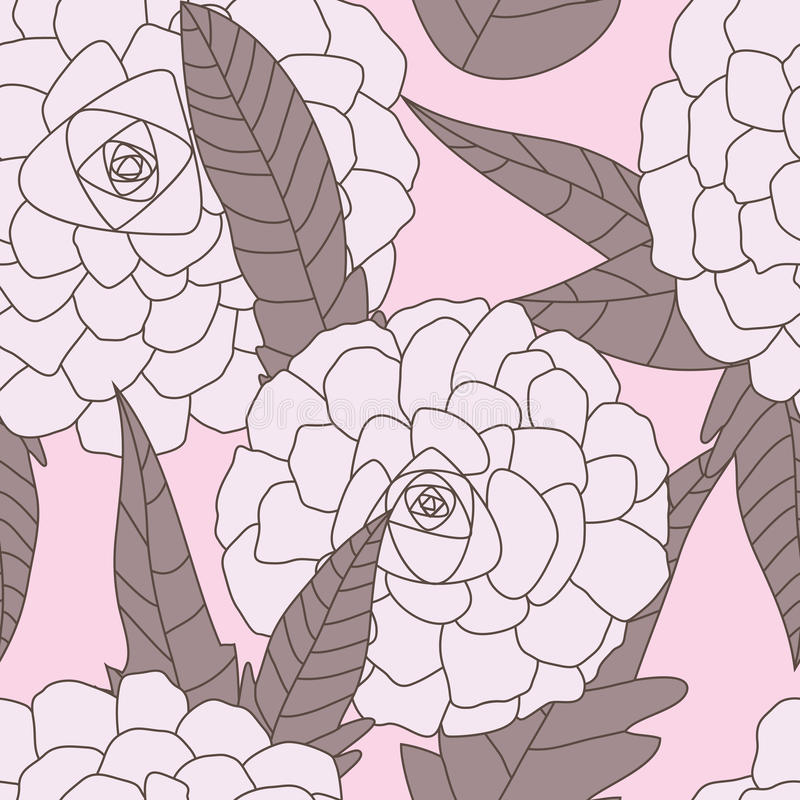 Drawn Flowers Seamless Pattern_eps Stock Photography
