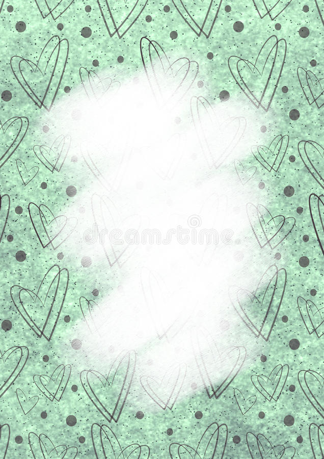 Drawn green watercolor background with hearts dots and brushstrokes download drawn green watercolor background with hearts dots and brushstrokestemplate for letter or spiritdancerdesigns Images