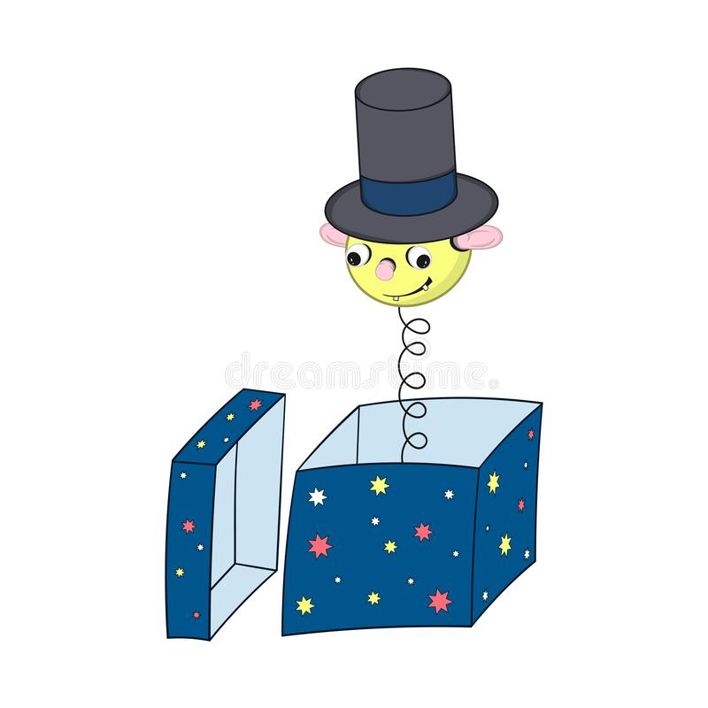Funny yellow cartoon spring in a hat - with a head, ears, eyes and mouth peeking out of a gift box and smiling. royalty free illustration