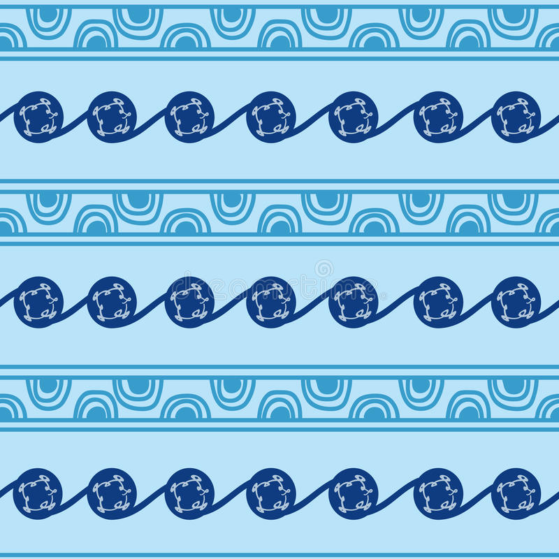 Drawn hands symbols and signs in the form of semicircles, lines and patterns in blue. Ukrainian Trypillia national vector illustration
