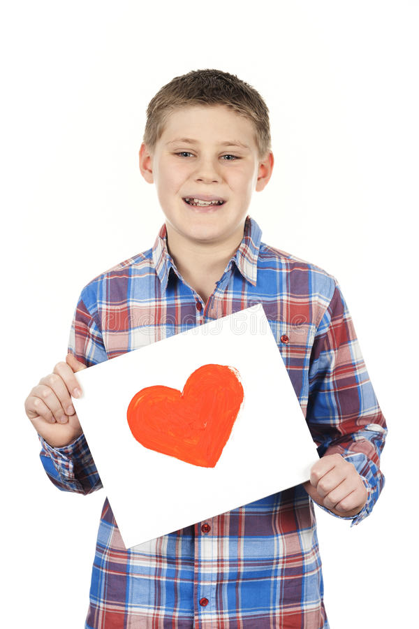 Drawn heart in boy hands. On white background royalty free stock photo