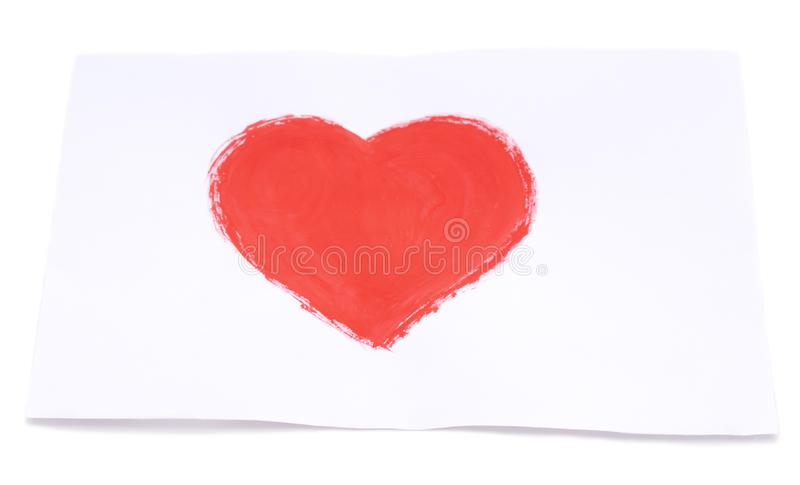 Drawn heart on leaf. On a white background royalty free stock photos