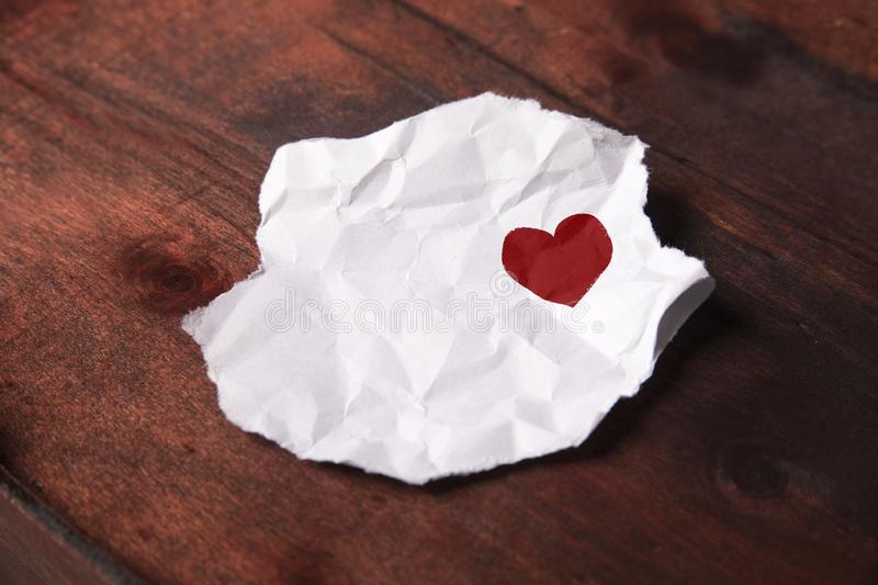 Drawn heart on slip of paper.  royalty free stock photo