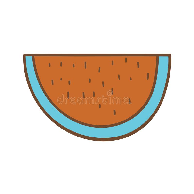 Drawn icon of a colorful slice of watermelon. Beautiful hand-drawn colored icon of a slice of watermelon royalty free illustration