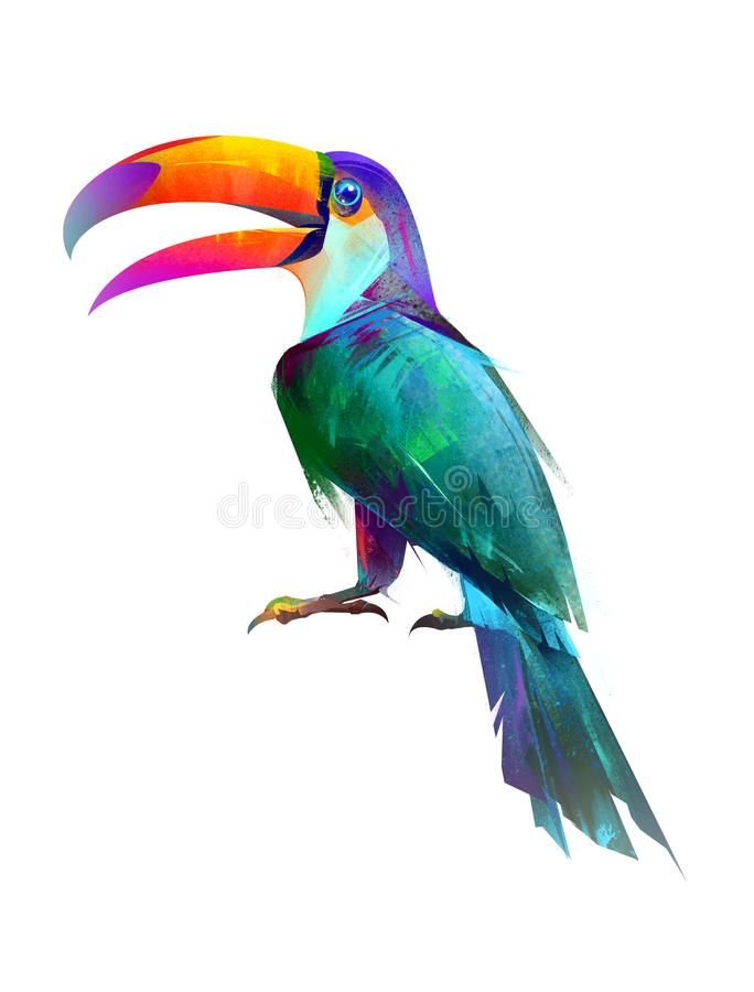 Drawn isolated bright bird sitting Toucan side stock illustration