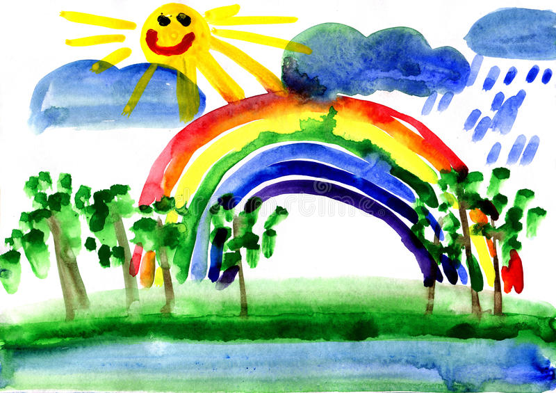 Drawn landscape with rainbow. Landscape with rainbow, drawn by watercolors vector illustration