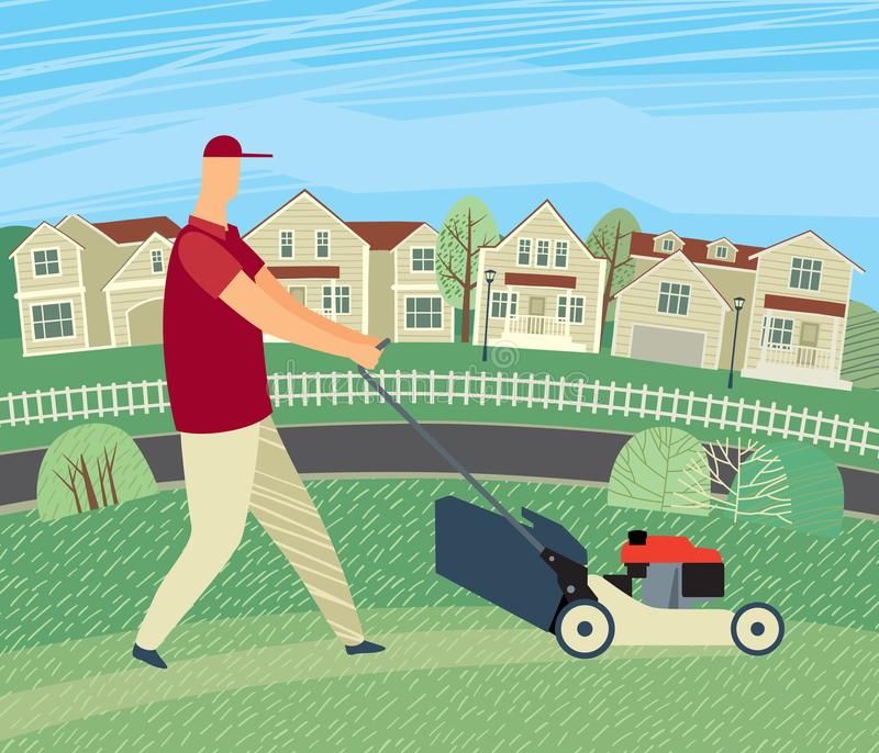 Drawn man mows grass with a lawn mower on the background of houses. Vector full color graphics vector illustration