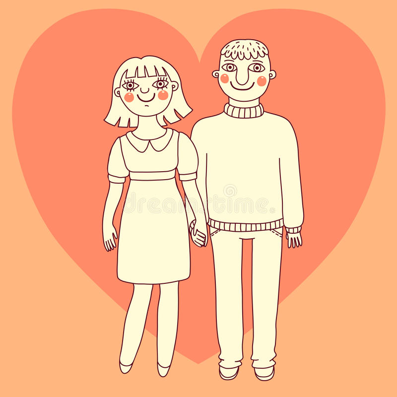 Drawn man and woman. Young couple in love. vector illustration