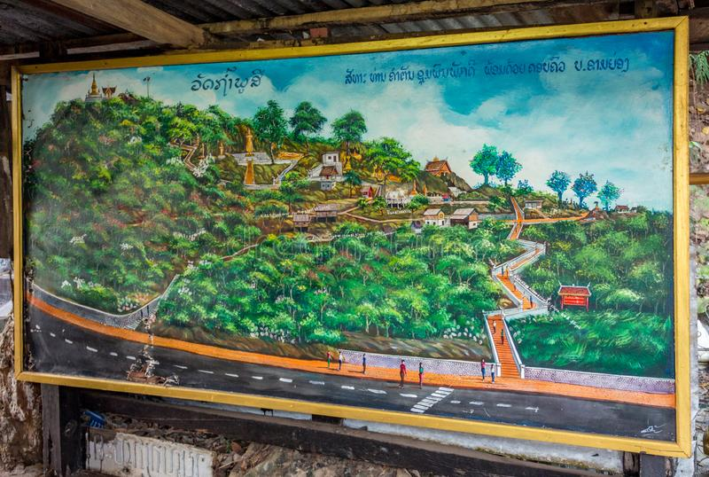 Drawn map of all the sights on the way to the top of Mount Phou Si. Luang Prabang, Laos - January 28, 2018: Colorful map of Sackarin road and Mount Phousi site stock photos