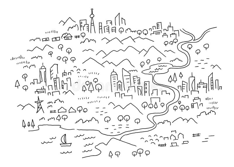 Drawn map of the area. Cartoon city, mountain river and village. Forest hills and sea. Hand drawn vector black line royalty free illustration