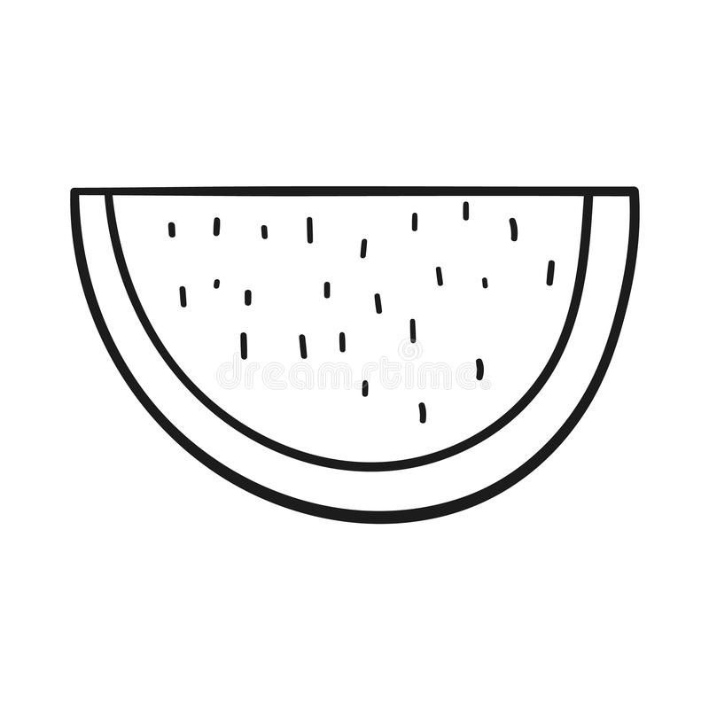 Drawn outlined icon of a slice of watermelon. Beautiful hand-drawn outlined icon of a slice of watermelon royalty free illustration
