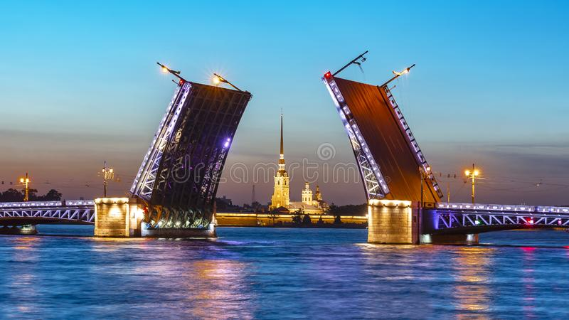 Drawn Palace Bridge and Peter and Paul Fortress at white night, St. Petersburg, Russia stock photography