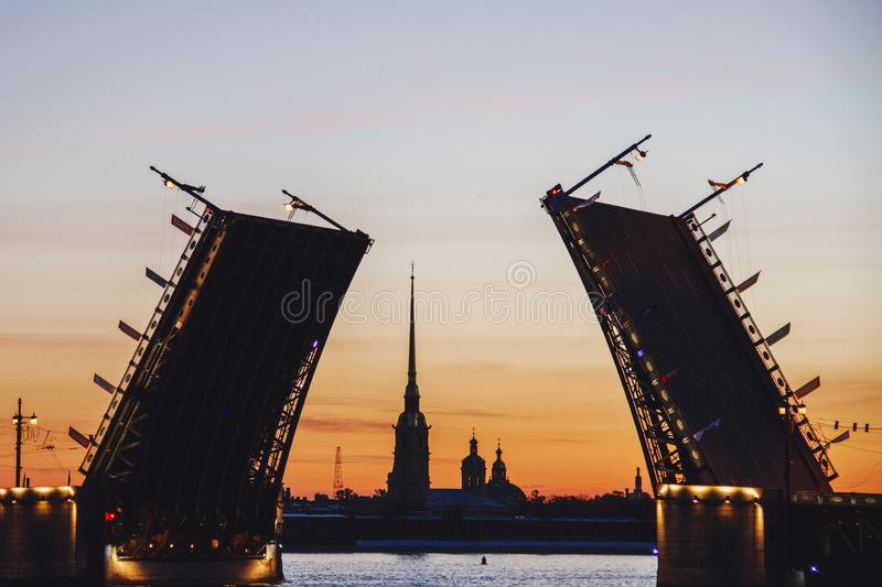 Drawn Palace Bridge and Peter and Paul Fortress at white nights in Saint Petersburg Russia royalty free stock image