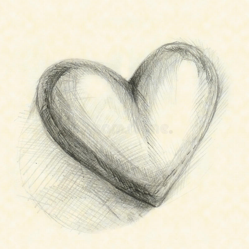 Drawn in pencil heart. Against the background of yellow paper royalty free stock photo