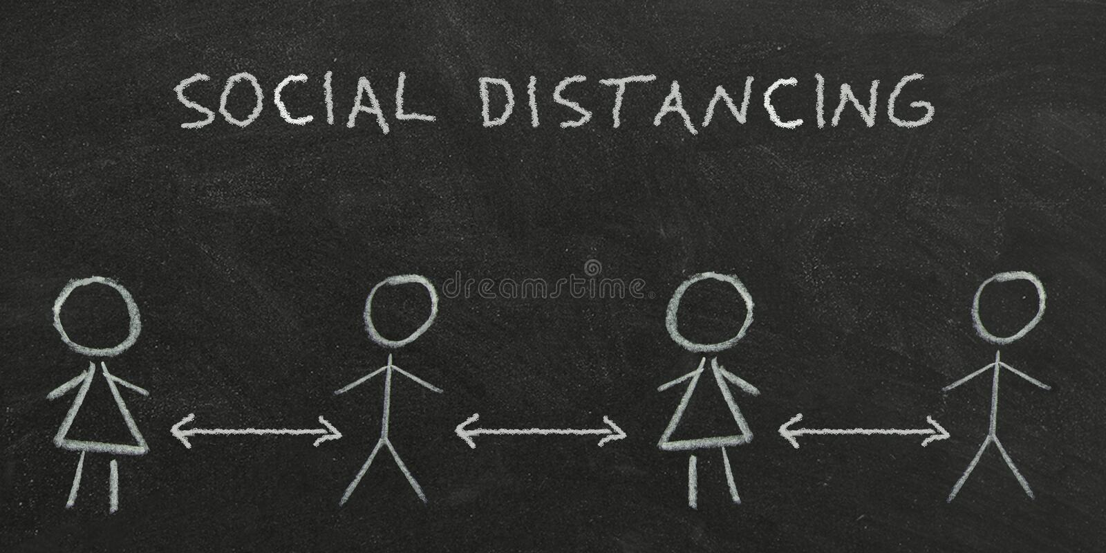 Drawn people and the inscription social distance written in white chalk on a black Board.  royalty free stock photography
