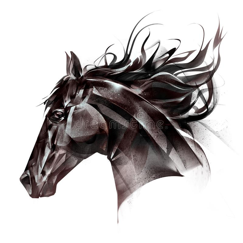 Drawn portrait of a horse face on a white background stock image