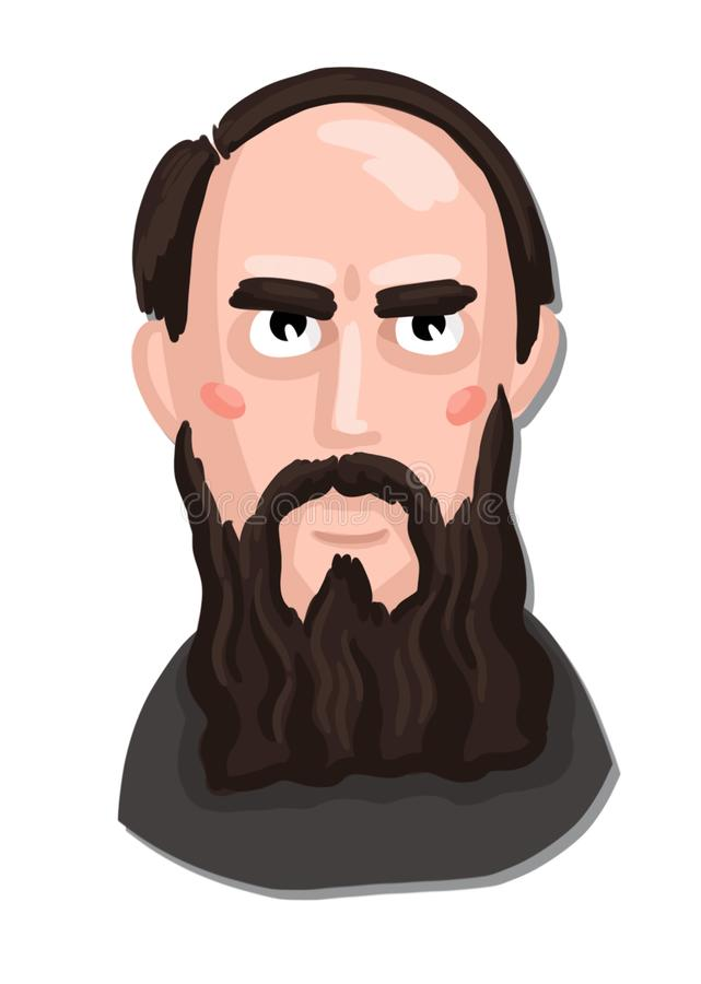 Painted portrait of a Russian classic writer stock photos