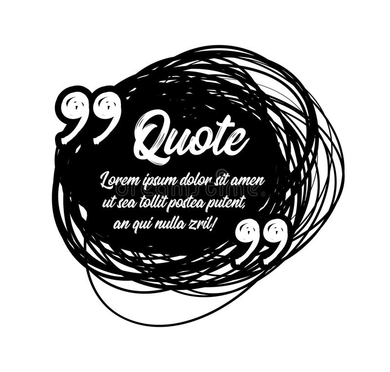 Drawn quotes and a frame to highlight the frame, quotes and other text in the article, or as a separate element. Vetor. Drawn quotes and a frame to highlight the stock illustration