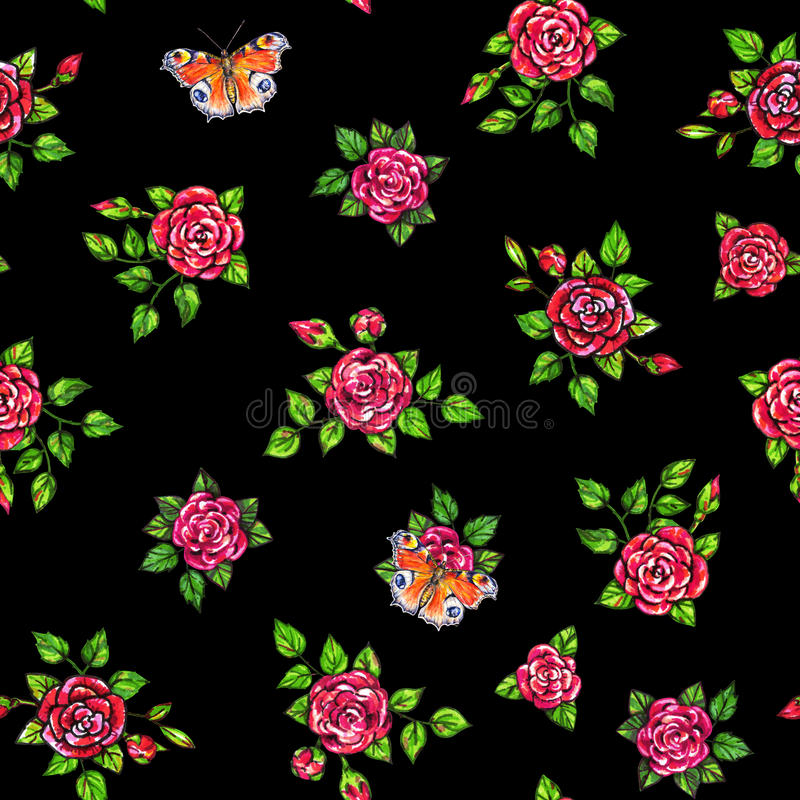 Drawn red roses with peacock butterflies seamless background. Flowers illustration front view. Handwork by felt-tip pens. Pattern stock illustration