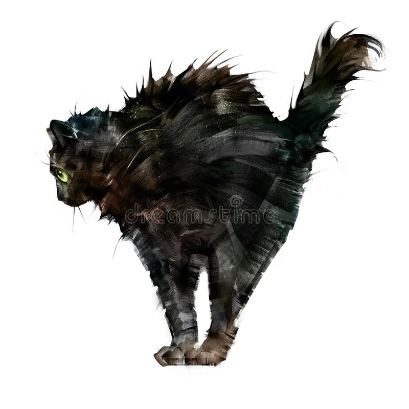 Drawn ruffled scary black cat side view on white background royalty free illustration