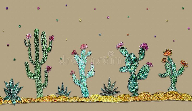 Set with shiny sequins cacti and flowers on craft paper background. Drawn set of cacti and succulent plants isolated on craft paper background vector illustration