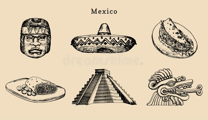 Drawn set of famous Mexican attractions.Vector illustration of Olmec and Aztec sights.Latin American street food symbols vector illustration