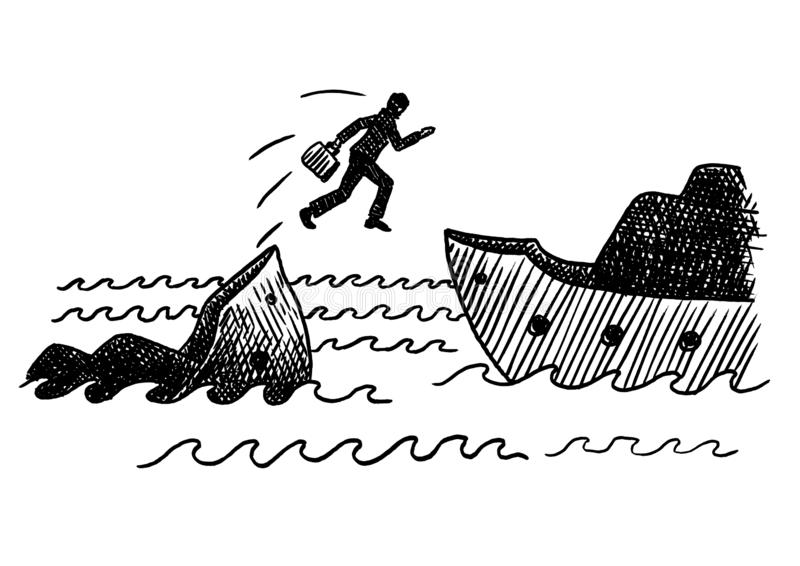 Drawn Sketch Of Businessman Jumping Sinking Ship. Hand drawn felt tip pen of a businessman jumping off a sinking ship. Concept for bankruptcy, cowardice royalty free illustration