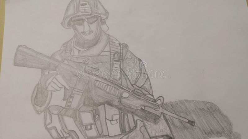 Drawn soldier stock photos