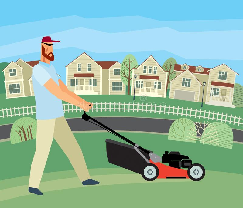 Drawn stern man mows grass with a lawn mower against the background of houses. Vector full color graphics royalty free illustration
