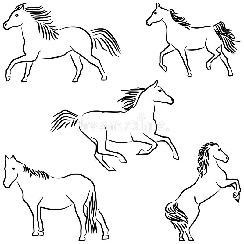 Download Drawn stylized horses stock illustration. Illustration of minimal - 19184978