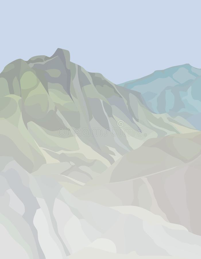 Drawn summer background of mountain peaks in a hazy haze. Drawn summer background of mountain peaks in hazy haze vector illustration